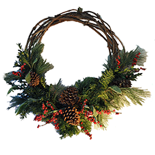 Holiday Grapevine Wreath, $30